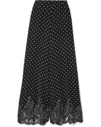 Rosamosario - Chaplin's Love Story Lace-trimmed Polka-dot Silk-crepe Pyjama Trousers - Lyst