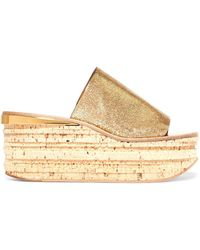 Chloé - Camille Metallic Cracked-leather Wedge Sandals - Lyst