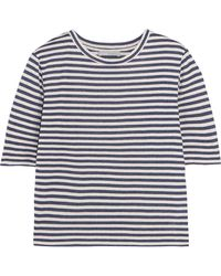 Vince - Striped Silk-blend Jersey T-shirt - Lyst