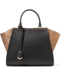Fendi - 3jours Suede-paneled Leather Tote - Lyst
