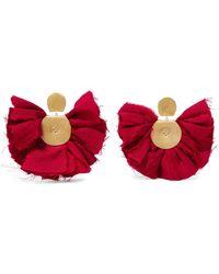 Katerina Makriyianni - Hand Fan Gold-tone And Silk Earrings - Lyst