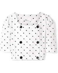 Lisa Marie Fernandez - Diana Double-breasted Embroidered Polka-dot Linen Top - Lyst