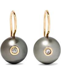 Mizuki - 14-karat Gold Pearl And Diamond Earrings - Lyst