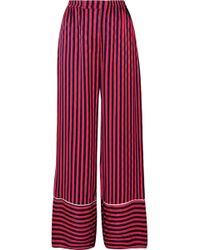 House of Holland - Pantalon De Pyjama En Satin Floqué À Rayures - Lyst