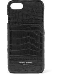 Saint Laurent - Croc-effect Leather Iphone 8 Case - Lyst