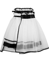 Noir Kei Ninomiya - Layered Faux Leather-trimmed Tulle Skirt - Lyst
