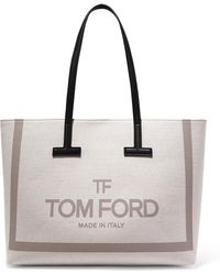 Tom Ford - T Medium Leather-trimmed Printed Cotton-canvas Tote - Lyst