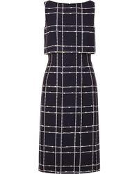 Oscar de la Renta - Checked Cotton-blend Bouclé Midi Dress - Lyst