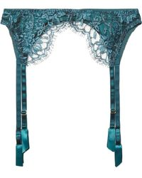 Coco De Mer - Peridot Embroidered Tulle And Silk-blend Satin Suspender Belt - Lyst