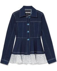 House of Holland - Swiss-dot Tulle-trimmed Denim Jacket - Lyst