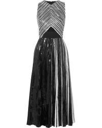 Proenza Schouler - Pleated Coated-cloqué Midi Dress - Lyst