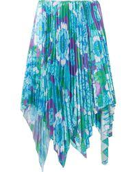 Richard Quinn - Asymmetric Pleated Floral-print Satin Midi Skirt - Lyst
