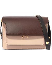 Marni - Trunk Medium Color-block Textured-leather Shoulder Bag - Lyst