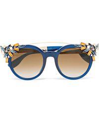 Jimmy Choo - Embellished Cat-eye Acetate Sunglasses - Lyst