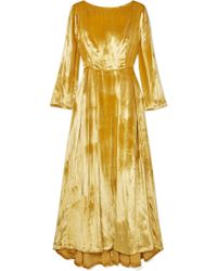 Adam Lippes - Metallic Silk-velvet Maxi Dress - Lyst