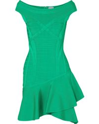 Hervé Léger - Ruffled Bandage Mini Dress - Lyst
