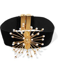 Ellery - Rainbow Wheels Velvet, Gold-plated And Pearl Choker - Lyst