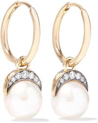Noor Fares - Mala 18-karat Gold, Pearl And Diamond Earrings Gold One Size - Lyst
