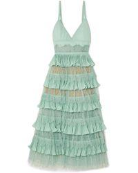Elie Saab - Tiered Plissé-crepe, Tulle And Lace Midi Dress - Lyst