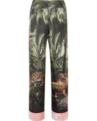 F.R.S For Restless Sleepers - Etere Velvet-trimmed Printed Silk-twill Straight-leg Trousers - Lyst