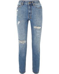 Ksubi - Slim Pin Rushed Distressed High-rise Jeans - Lyst