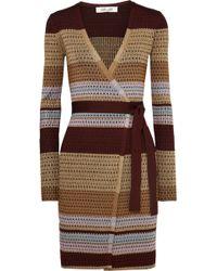 Diane von Furstenberg - Metallic Striped Ribbed-knit Wrap Dress - Lyst