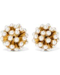 Rosantica - Futura Gold-tone Faux Pearl Clip Earrings - Lyst