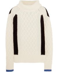 Preen Line - Ellise Color-block Cable-knit Wool-blend Turtleneck Sweater - Lyst