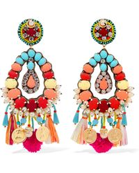 Ranjana Khan - Frida Gold-tone, Mother-of-pearl, Raffia And Crystal Clip Earrings - Lyst