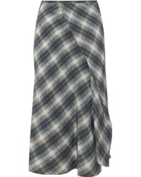 Vince - Wrap-effect Checked Silk Crepe De Chine Midi Skirt - Lyst