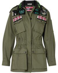 Miu Miu - Oversized Embellished Cotton-blend Drill Jacket - Lyst