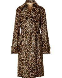 Michael Kors - Leopard-print Calf Hair Trench Coat - Lyst