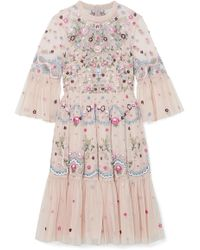 Needle & Thread - Dreamers Embroidered Tulle Mini Dress - Lyst