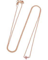 Ileana Makri | Mini Cross 18-karat Rose Gold Sapphire Necklace | Lyst