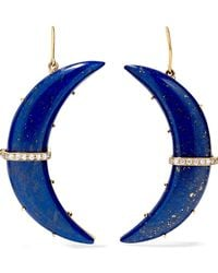 Andrea Fohrman | Crescent Moon 14-karat Gold, Lapis And Diamond Earrings | Lyst