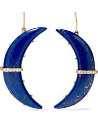 Andrea Fohrman - Crescent Moon 14-karat Gold, Lapis And Diamond Earrings - Lyst