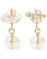 Melissa Joy Manning - 14-karat Gold, Herkimer Diamond And Pearl Earrings - Lyst