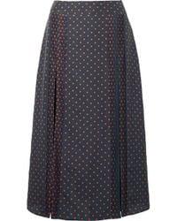 Burberry - Pintucked Polka-dot Silk Midi Skirt - Lyst
