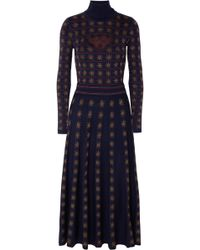 Temperley London - Night Cutout Metallic Intarsia Wool-blend Midi Dress - Lyst