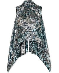 Halpern - Backless Sequined Tulle Top - Lyst