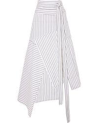 J.W.Anderson - Asymmetric Striped Cotton Midi Skirt - Lyst