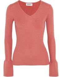 DKNY - Ribbed Silk, Wool And Cashmere-blend Jumper - Lyst