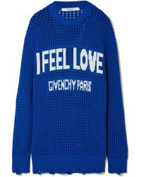 Givenchy - Oversized Distressed Intarsia Crocheted Cotton Sweater - Lyst