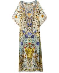 Camilla - The Butterfly Effect Embellished Printed Silk Crepe De Chine Kaftan - Lyst