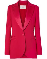 Carolina Herrera - Satin-trimmed Wool-blend Tuxedo Blazer - Lyst