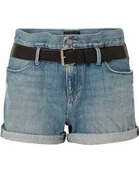 RTA - Pierce Belted Distressed Denim Shorts - Lyst