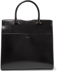 Saint Laurent - Cabas Uptown Glossed-leather Tote - Lyst