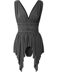Norma Kamali - Goddess Belted Asymmetric Swimsuit - Lyst