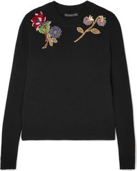 Alexander McQueen - Embellished Embroidered Wool Jumper - Lyst