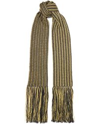 Saint Laurent - Fringed Striped Metallic Crochet-knit Wool-blend Scarf - Lyst